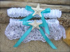 You have to get this!! Beach Wedding Starfish Garter SetSOMETHING by sandnsurfcreations, $34.00