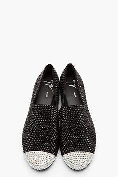 GIUSEPPE ZANOTTI Black crystal studded loafers