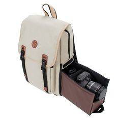 DSLR Camera Backpack by GOgroove (Mid-Volume Tan) with Interior Tablet Sleeve, Dual-Side Quick Camera Access, Phone Storage and Dual Accessory Areas for Canon, Nikon, Olympus and Stylish Camera Backpack, Cute Camera Bag, Camera Bag Backpack, Camera Gear, Camera Hacks, Dslr Cameras, Diaper Backpack, Diaper Bags, Film Camera