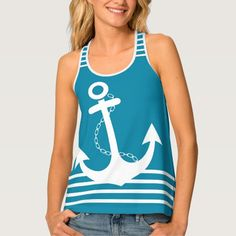 Trendy Blue with White Stripes and Anchor Design