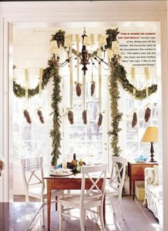 Pinecones hanging from ribbon