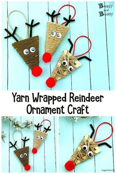 These yarn-wrapped popsicle stick reindeer ornaments are a super cute Christmas craft for kids to make! Children will wrap yarn around a craft sticks glued to form a triangle and add details to make a reindeer craft that looks just like Rudolph. Christmas Crafts For Kids To Make, Crafts For Teens To Make, Christmas Tree Crafts, Preschool Christmas, Kids Christmas, Holiday Crafts, Christmas Ornaments, Christmas Crafts For Kindergarteners, Christmas Tree Decorations For Kids
