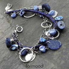 'bunch' - bransoletka z lapis lazuli, kyanitem, szkłem afgańskim .... Biżuteria Naszyjniki formood