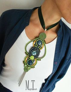 OOAK Boho necklace soutache modern necklace favorite jewelry for her gift idea choker necklace green necklace hippie necklace long necklace Check out this item in my Etsy shop… Soutache Pendant, Soutache Necklace, Silver Choker Necklace, Green Necklace, Boho Necklace, Jewelry Stores Near Me, Jewelry For Her, Boho Jewelry, Ootd