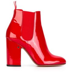 Laurence Dacade 'Mila' patent ankle boots ($761) ❤ liked on Polyvore featuring shoes, boots, ankle booties, red, red booties, ankle bootie boots, red boots, red patent boots and bootie boots