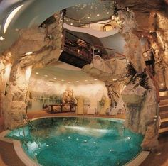 Modern House Design & Architecture : Cave house with Cave Pool OMG ! Future House, My House, Cave Pool, Indoor Pools, Indoor Jacuzzi, Lap Pools, Backyard Pools, Pool Landscaping, Outdoor Pool