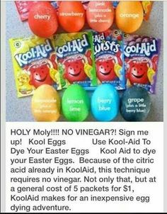 Dye your Easter eggs with Kool Aid! Add one packet of Kool-Aid to cup of water and stir. Easter Egg Dye, Coloring Easter Eggs, Hoppy Easter, Easter Party, Egg Coloring, Easter Bunny, Colouring, Easter Dinner, Holiday Fun