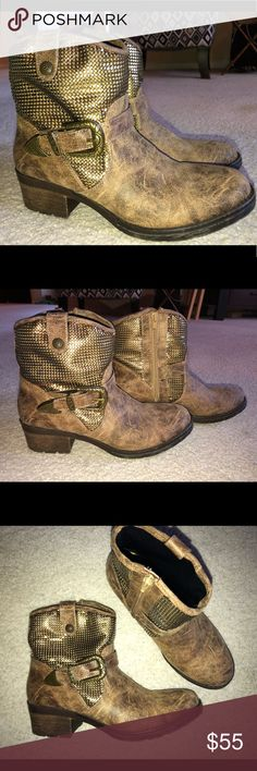 Distressed Boutique boots 7 1/2 NEW! Distressed boutique boots. Leather upper. Metal mesh and western style buckle detail. 1 1/2 inch heel. Zips up on inside of ankle. Very comfortable!! Shoes Ankle Boots & Booties