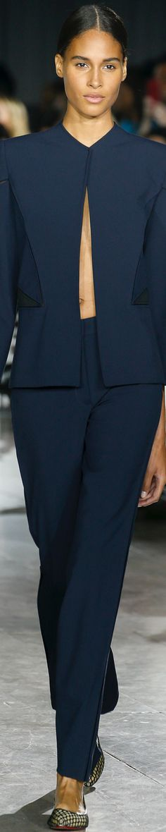 ZAC POSEN SPRING 2016 gives an exquisite silk faille pants suit. If you don't have the guts to wear a fly-away jacket with nothing under, try it with a beautiful, hot-colored silk cami. I've got a pretty one on this same board. - Gabrielle