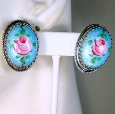 Aqua Blue GUILLOCHE Enamel Oval Clip Earrings by VintageStarrBeads