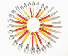 Vintage Mod Red Orange Yellow Plastic Handles 1970s Flatware Stainless Sporks.  Would make a great clock