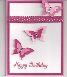 Lot of 3 Handmade Pink Butterfly Birthday Cards Made w Stampin Up Supplies | eBay