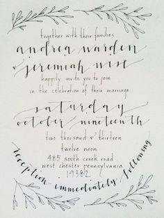 all calligraphy bridal suite invitation