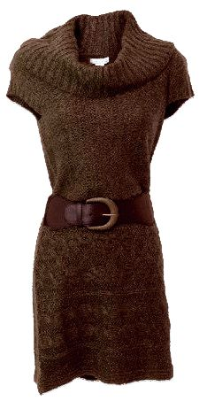 Brown cowl neck sweater dress.