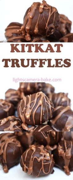 KitKat Truffles are three ingredients, no bake, quick and easy truffles that will blow your mind! They are sweet and taste exactly like they sound. Köstliche Desserts, Delicious Desserts, Dessert Recipes, Health Desserts, Sweet Desserts, Plated Desserts, Homemade Candies, Homemade Candy Recipes, Homemade Truffles