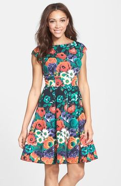 Free shipping and returns on FELICITY & COCO Stretch Cotton Fit & Flare Dress (Nordstrom Exclusive) (Regular & Petite) at Nordstrom.com. Multicolored flowers bring to life this elegant bateau-neck dress that flares away from the paneled waistline.