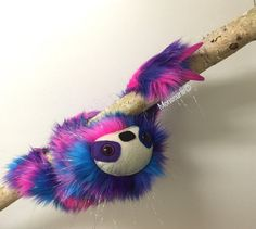 Sloth plush tinsel white  by Monscurls on Etsy