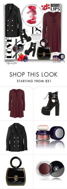 """""""Berry Love Statement Lips"""" by octobermaze ❤ liked on Polyvore featuring Topshop, WithChic, Balmain, Kimiko, Moschino, Chanel, Rossetto, women's clothing, women's fashion and women"""