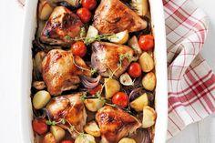 Balsamic chicken bake. All in one, oven baked. Super easy