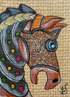 """Aceo Original """"CAROUSEL WAR HORSE"""" pencil/ink on canvas paper ON EBAY"""