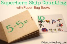 superhero skip counting - this is an easy math activity you can make for your kids with stickers and paperbags.