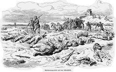 Tysk skildring af slagmarken på Dybbøl dagen efter det blodige slag. De døde samles op og køres til massegravene.
