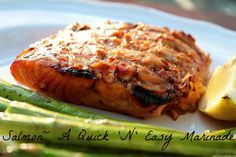 Quick 'N' Easy Salmon Marinade Fish Dishes, Seafood Dishes, Fish And Seafood, Main Dishes, Salmon Marinade, Tasty Bites, Grilled Salmon, Salmon Recipes, Food For Thought