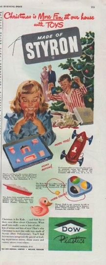 "1948 DOW PLASTICS vintage print advertisement ""Made of Styron"" ~ Christmas is More Fun at our house with TOYS ... Made of Styron ... Christmas is for Kids ... and kids have their own ideas about Christmas. ~"