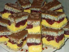 Hozzávalók a mákos tésztához: 5 tojás 200 g cukor 50 g mák 140 g liszt 2 teáskanál olaj 1 teáskanál sütőpor 2 evők... Poppy Cake, Creative Cakes, Cake Recipes, Cheesecake, Deserts, Food And Drink, Sweets, Cooking, Cakes