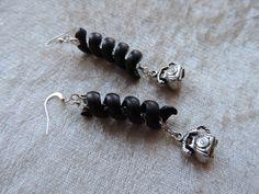 Boucles d'oreilles argentées et noires, Boucles d'oreilles téléphone : Boucles d'oreille par made-in-maud
