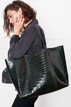 ANINE BING Croc-Embossed Leather Tote