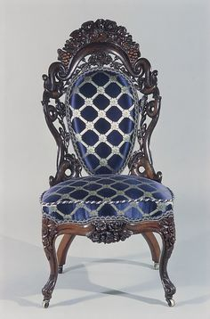*SIDE CHAIR ~ American.  Date:1850–60; Geography:Made in New York, New York, U.S. Culture:American; Medium: Rosewood, ash; Gift of Mrs. Charles Reginald Leonard, in memory of Edgar Welch Leonard, Robert Jarvis Leonard, and Charles Reginald Leonard, 1957