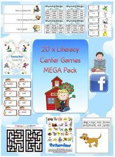 20 x Literacy Center Games MEGA Pack Reading & Spelling - PDF file    133 printable pages. So many resources on one file!    Designed by Clever Classroom.    Games and Activities Include;    1. Basic structures Sentence Joiners  2. Beginning Blends Lotto Games  3. Compound Match  4. Digraph Dungeon  5. Dino Roll  6. End Blends Blast to the Moon Race  7. Final Sounds Bingo Games...