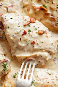 Creamy Honey Mustard Chicken With Bacon | http://cafedelites.com