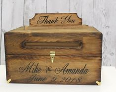 Wedding Card Box with slot - Rustic Wedding Card Box - Wedding Decor - Advice Box - Card Box with lid that Locks - Wedding Card holder Rustic Card Box Wedding, Wedding Card, Advice Box, Reception Signs, Card Boxes, Box With Lid, Woodland Wedding, Wedding Decorations, Wedding Ideas