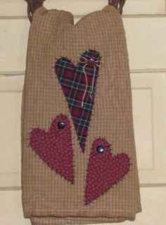 Primitive Tea Towel - Hand Appliqued Hearts - Home Decor - Valentine's Day