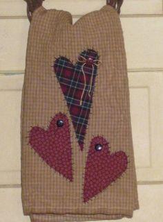 Primitive Tea Towel - Hand Appliqued Hearts - Home Decor - Valentine's Day
