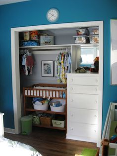 A children's room closet transformation. Organized and efficient for small space living! I like this idea because I could put my dresser in the closet for more bedroom space in my room! Kid Closet, Closet Bedroom, Bedroom Storage, Closet Space, Closet Ideas, Bedroom Decor, Teal Nursery, Nursery Neutral, Nursery Room