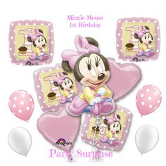 Minnie Mouse 1st Birthday Balloon Package Girl by PartySurprise