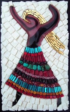 "Margo Anton's Mosaic a Day 8"" by 5"" - Glass Cabochon, mosaic gold, marble, millefiori, garnet, glass"