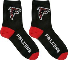 NFL Atlanta Falcons Men's Team Quarter Socks, Large by For Bare Feet. $8.92. These Men's Team Logo Socks from For Bare Feet will help keep your feet comfortable while showing off your team spirit. The socks are made with a blend of cotton, polyester and nylon for superior softness and comfort on your feet. The official team logo is displayed prominently so that everyone will know that you are a serious fan who takes pride in their favorite team, whether it's game day...