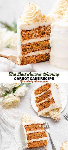 Carrot Cake Recipe Best Carrot Cake, Carrot Cakes, Baking Recipes, Cake Recipes, Dessert Recipes, Award Winning Carrot Cake Recipe, Paradise Bakery, Yummy Treats, Sweet Treats