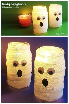 DIY Glowing Mummy Lantern Craft for Kids for Halloween: You can even . - DIY Glowing Mummy Lantern Craft for Kids for Halloween: You can even … - Kids Crafts, Mummy Crafts, Ghost Crafts, Halloween Arts And Crafts, Halloween Decorations For Kids, Halloween Tags, Holiday Crafts, Women Halloween, Halloween Makeup