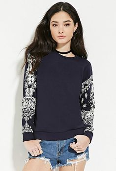 Paisley Print Sweatshirt   Forever 21 - 2000150661