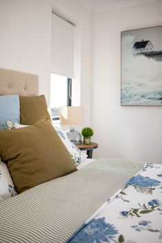 Watery mid-tone blue and olive green, combining floral and coastal vibes in this master bedroom. #floralandcoastal #masterbedroom #interiordesign #medlandplan #showhome #generationhomesnz 4 Bedroom House Plans, Home Bedroom, Bedroom Ideas, Master Bedroom, Bedrooms, Olive Green, Coastal, How To Plan, Interior Design