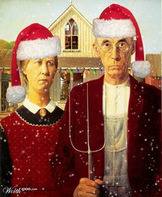 """Lemieux looked to American regionalist artists like Grant Wood and Thomas Hart Benton for inspiration. Grant Wood, """"American Gothic,"""" Art Institute of Chicago. American Gothic Painting, American Gothic House, Grant Wood American Gothic, American Gothic Parody, American Realism, American Artists, American Gods, American Modern, American History"""