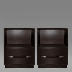 Pair of T. H. Robsjohn-Gibbings Ebonized Walnut Side Tables with Nickel Pulls by T.H.  Robsjohn-Gib...