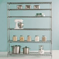 Metro® Commercial Shelving is the original chrome-plated steel shelving used professionally in restaurant kitchens and supply rooms. At The Container Store Metro Shelving, Pantry Shelving, Steel Shelving, Modern Shelving, Industrial Shelving, Metal Shelves, Kitchen Storage, Open Shelves, Glass Shelves