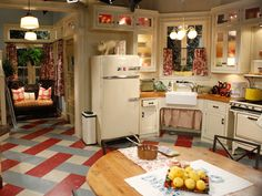 """The kitchen from the set of """"Hot in Cleveland"""" Love the vintage appliances, butcher block counters and 'linoleum' floor! Love the show and their kitchen and living room :) Cozy Kitchen, Farmhouse Kitchen Decor, Kitchen Sets, Country Kitchen, New Kitchen, Vintage Kitchen, Kitchen Dining, Kitchen Cabinets, 1930s Kitchen"""