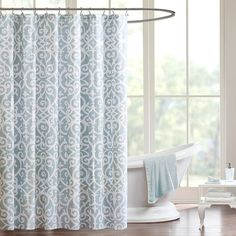 Madison Park Pure Lucia Shower Curtain, Turquoise/Blue (Turq/Aqua)